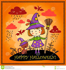 cute spooky background cute halloween background with witch and a cat royalty free stock