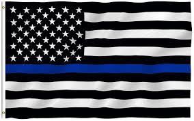 How To Hoist A Flag Amazon Com Anley Fly Breeze 3x5 Foot Thin Blue Line Usa Flag