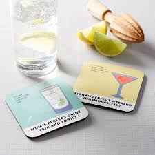 gin and tonic drinks coaster personalised by coconutgrass