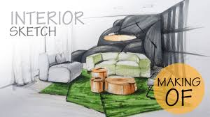 Interior Sketch by Quick Interior Sketch With Markers And Coloured Pencils Youtube