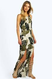 sophoa tropical split front maxi dress boohoo