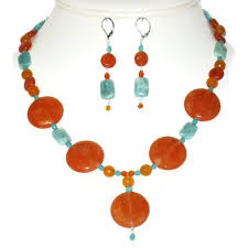 orange necklace sets images Orange and blue green necklace and earring set with drop pendant jpeg