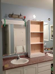 Framed Bathroom Mirrors Ideas Large Bathroom Mirror Redo To Framed Mirrors And Cabinet