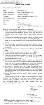 contoh surat pernyataan untuk melamar kerja contoh surat pernyataan cpns kementerian hukum dan ham tahun 2017