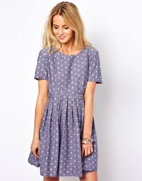asos asos smock dress with embroidered spot in chambray at asos