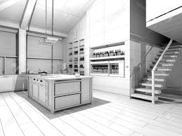 modern kitchen 3d wireframe model stock photo picture and