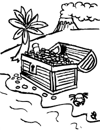 drawing pirate treasure chest tropical island colouring