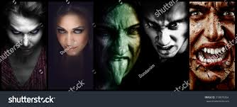 halloween collage evil scary horror faces stock photo 318878264