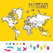 World Map Pins by Hand Drawn World Map With Pins And Arrows Vector Design Cartoon