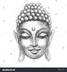 sketch head smiling buddha meditation nirvana stock illustration