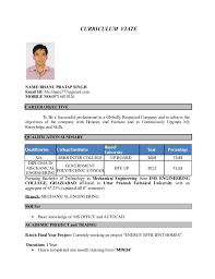 Career Objective For Resume Mechanical Engineer Fresher Resume Format