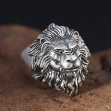 antique lion ring holder images Men 39 s vintage lion 39 s head solid 925 sterling silver adjustable jpg