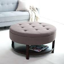 ottoman tufted leather ottoman with optional shelf medium size
