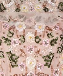 lyst needle u0026 thread light pink floral frill maxi dress in pink