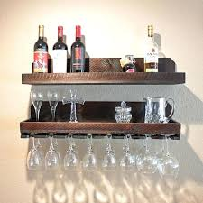 wine rack floating shelf with wine glass rack floating shelves