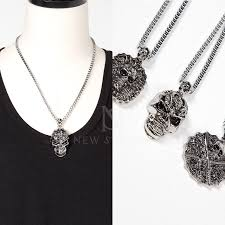 necklace metal types images Accessories 3 different types of skull pendants metal necklace jpg
