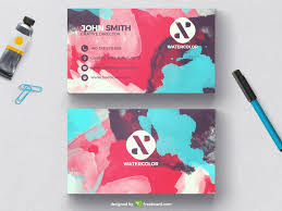 watercolor business card template freebcard