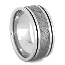 black mens wedding rings mens wedding band with black enamel and seymchan meteorite