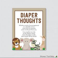 safari baby shower diaper thoughts game printable instant