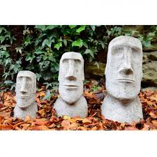 easter island heads set moai garden ornament statue