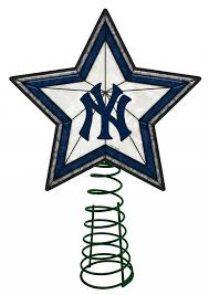 New York Yankees Home Decor New York Yankees Light Up Art Glass Tree Topper Sports Merchandise