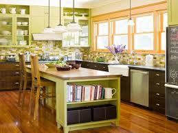 Oak Cabinets Kitchen Ideas Kitchen Lovely Green Kitchen Wall Design With Wood Kitchen Set