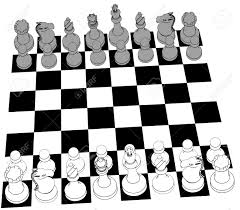 complete black and white 3d chess set game pieces and checker