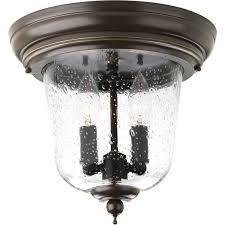 Bronze Semi Flush Ceiling Light by Progress Lighting Ashmore Antique Bronze Two Light Outdoor Semi
