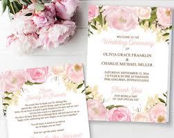 folded wedding program folded program etsy