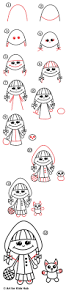 how to draw little red riding hood art for kids hub
