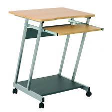 pc bureau compact verrijdbaar bureau metaal beukenkleurige werkvlakken