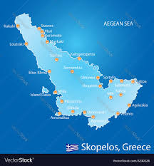 Map Of Greece Islands by Island Of Skopelos In Greece Map Royalty Free Vector Image