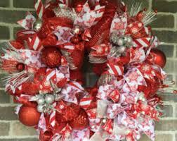 Red And White Christmas Door Decorations by Red And White Wreath Etsy
