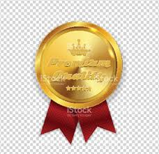 Seal Ribbon Premium Quality Golden Medal Icon Seal Sign Isolated On White