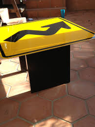 street sign coffee table i made epoxy resin on top to protect