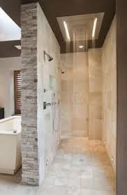 Bathroom With Open Shower Walk Through Shower Open Concept Easy Clean By Lansa Home