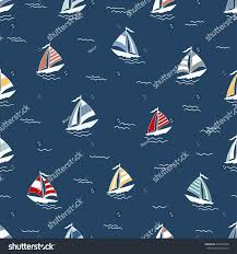 Blue Flag Yachts Marine Seamless Pattern Cartoon Boats On Stock Vector 699955240