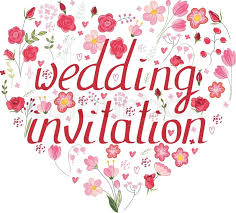 wedding invitation symbols shape heart made of stylized flowers and pink roses phrase