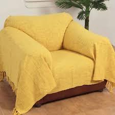 jeté de canapé jaune jeté de lit ou de canapé nirvana 100 coton jaune ocre 150 x 200 cm