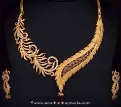 necklace set gold design images Gold designer ruby leaf necklace south india jewels jpg