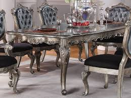 dining room table set chantelle collection antique platinum finish formal 7 dining