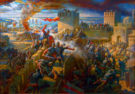 Constantinople Ottoman Empire Ottoman Turks Army Assaultiing The Walls Of Constantinople