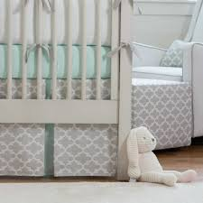 french gray and mint quatrefoil crib bedding carousel designs