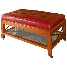 red leather ottoman coffee table round leather ottoman coffee