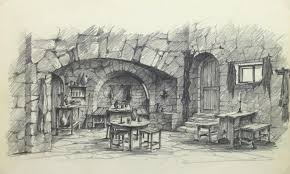 unknown belgian pencil sketch rustic tavern for sale at 1stdibs