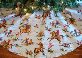 yee haw and merry christmas cute cowboy tree skirt for your