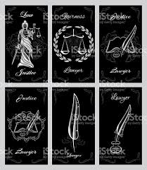 Lawyers Business Cards Vector Set Design Elements For Lawyers Business Cards Stock Vector