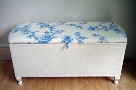 vintage lloyd loom ottoman blue flowers toile painted vintage