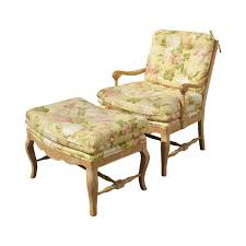 french country yellow floral accent chair u0026 ottoman chairish