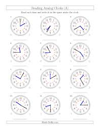 reading time on 24 hour analog clocks in 5 minute intervals a
